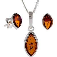 Be-Jewelled Marquise Amber Stud Earrings and Pendant Necklace Jewellery Gift Set, Cognac