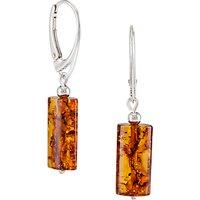 Be-Jewelled Tubular Amber Drop Earrings, Cognac