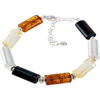 Be-Jewelled Tubular Amber Bracelet, Multi