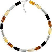 Be-Jewelled Tubular Amber Necklace, Multi