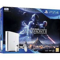 Sony PlayStation 4 Slim Console with DUALSHOCK 4 Controller, 500GB, Glacier White with Star Wars Battlefront II