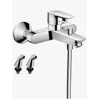 Hansgrohe Talis E Single Lever Bath/Shower Mixer Tap with 2 Pillar Unions, Chrome
