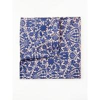 John Lewis Floral Print Silk Pocket Square, Blue