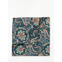 John Lewis Paisley Silk Pocket Square, Coral/Green