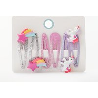 John Lewis Children's Unicorn And Star Clips, Pack of 6, Multi