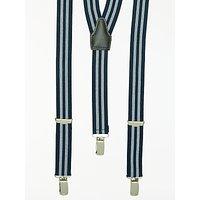 John Lewis Stripe Braces, One Size, Navy/White