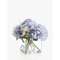 Peony Artificial Hydrangea In Glass Cube, Large