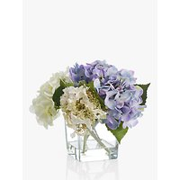 Peony Artificial Hydrangea In Glass Cube, Small