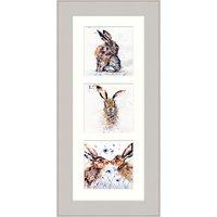Lisa Jayne Holmes - Triptych Hares Framed Print, 57 x 27cm