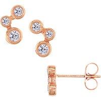 London Road 9ct Rose Gold Diamond Stud Earrings