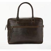 John Lewis Milan Leather Briefcase, Brown