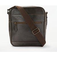 John Lewis Milan Leather Reporter Shoulder Bag, Brown