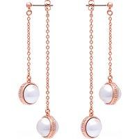 Karen Millen Logo Pearl Double Drop Earrings, Rose Gold