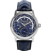 Fr ©d ©rique Constant FC-718NWM4H6 Men's World Time Date Alligator Leather Strap Watch, Navy