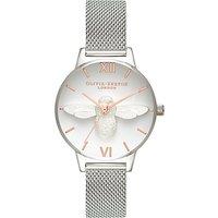 Olivia Burton OB16AM146 Women's 3D Bee Mesh Bracelet Strap Watch, Silver/White