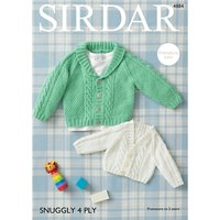 Sirdar Snuggly 4 Ply Baby Cardigan Knitting Pattern, 4884