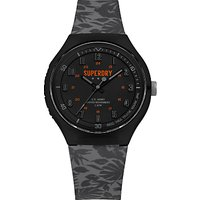 Superdry Men's Urban Extra Large Silicone Strap Watch, Grey/Black