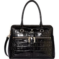 Modalu Pippa Classic Leather Croc Effect Grab Bag, Black Croc/Gold