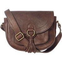 Fat Face Sienna Leather Tassel Saddle Bag, Chocolate