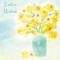 Saffron Cards And Gifts Daffodils In Vase Easter Greeting Card