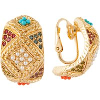 Susan Caplan Vintage D'Orlan 22ct Gold Plated Faux Pearl and Swarovski Crystal Hoop Clip-On Earrings, Gold/Multi