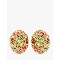Susan Caplan Vintage D'Orlan 22ct Gold Plated Swarovski Crystal Oval Clip-On Earrings, Gold/Multi