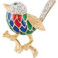 Susan Caplan Vintage Attwood & Sawyer 22ct Gold Plated Swarovski Crystal Bird Brooch, Gold/Multi