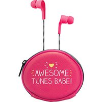 Happy Jackson Awesome Tunes Earphones with Carry Case, Pink