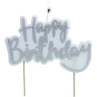Ginger Ray Happy Birthday Candle, Silver