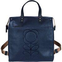 Orla Kiely Embossed Flower Leather Backpack, Navy
