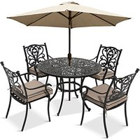 LG Outdoor Devon 4 Seater Garden Dining Table and Chairs Set with Parasol, Bronze