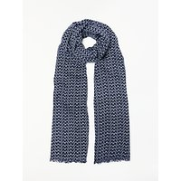 Boden Glasses Print Scarf, Navy/White at John Lewis Department Store