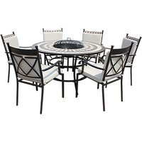 LG Outdoor Casablanca 6 Seater Garden Round Table Dining Set with Firepit, Charcoal