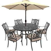 LG Outdoor Devon 6 Seater Garden Dining Table and Chairs Set with Parasol, Bronze