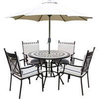 LG Outdoor Casablanca 4 Seater Garden Round Table Dining Set with Parasol, Charcoal