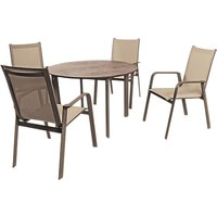 KETTLER Milano 4 Seater Garden Table and Chairs Set, Taupe/Hessian