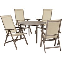 KETTLER Milano 4 Seater Garden Table and Recliner Chairs Set, Taupe/Hessian