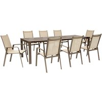 KETTLER Milano 8 Seater Garden Table and Chairs Set, Taupe/Hessian