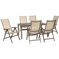 KETTLER Milano 6 Seater Garden Table and Recliner Chairs Set, Taupe/Hessian