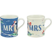 Cath Kidston Mr and Mrs Puffin Mugs, White/Multi, 350ml, Set of 2