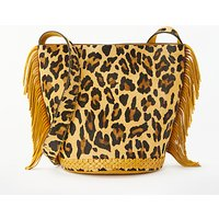 And/or Isabella Leather Bucket Bag, Ochre/leopard