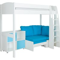 Stompa Uno S Plus High-Sleeper with White Headboard, Aqua Chair Bed and 2 Door Cube Unit