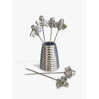 Culinary Concepts Bee Olive Picks and Holder, Silver