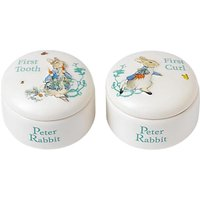 Beatrix Potter Peter Rabbit First Curl and Tooth Ceramic Pot Set, Pack of 2, White