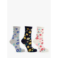 John Lewis Floral Ankle Socks, Pack of 3, Multi