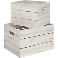 John Lewis & Partners Coastal Storage Crate, White, Set of 2