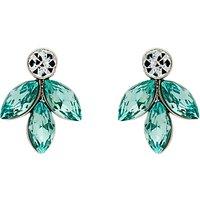 Monet Navette Drop Stud Earrings, Silver/Aqua