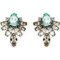 Monet Navette Glass Crystal Clip-On Earrings, Silver