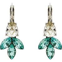 Monet Navette Rhodium Plated Glass Crystal Stud Earrings, Silver/Aqua