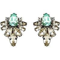 Monet Navette Glass Crystal Stud Earrings, Silver